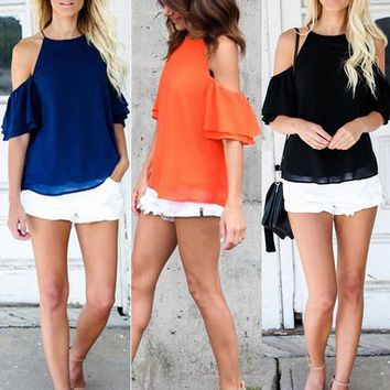 Fashion Womens Summer Cold Shoulder Short Sleeve T-shirt Blouse Casual Loose Top