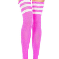 Pink and White 3 Stripe Thigh High Socks