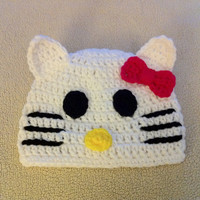 HELLO KITTY CAT Handmade Crochet Hat Beanie by karie1104az on Etsy