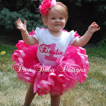 Girls 1st Birthday Outfit-  Posh Princess pink polka dot girls ribbon tutu outfit made with ANY age and name