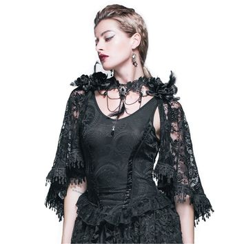Gothic Jacquard Knitting Vest Tank Tops Victorian Punk Women Lace Cappa Shawl Tops Summer Black Vest and Cape