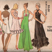 Vogue 70s Sewing Pattern 8323 American Hustle Style Disco Halter Dress Open Back Sexy Party Gown Hemline Flounce A-line Skirt Uncut Bust 32