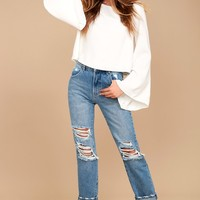 Be My Belle White Bell Sleeve Top