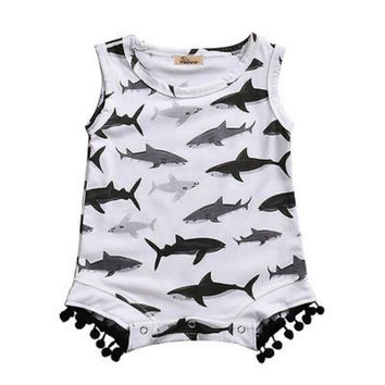 Cute Newborn Infant Baby Girls Boys Cotton Sleeveless Tassels Sharks Print Romper Kids Playsuit Jumpsuit Outfits Clothes Unisex