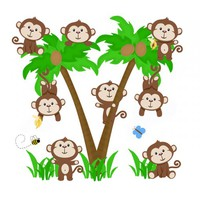 Monkey Palm Tree Decal Wall Art Safari Animal Nursery Decor - $30.00 : DeCamp Studios, The best selection of nursery wall murals, childrens wallpaper border, teen girl or boy wall art decals, baby premade scrapbook pages, and digital printable clip art. Ba