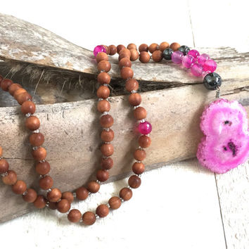Pink Solar Quartz and Sandalwood Mala Necklace, Sandalwood Mala Beads, Agate Hematite Meditation Beads, Pink Gypsy Necklace, Sandalwood