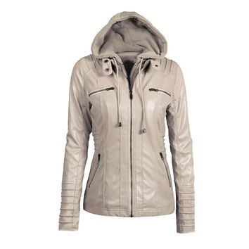 Grand Haven Hooded Faux Leather Jacket