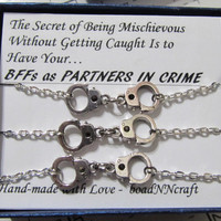 "3x NF/LF Partners in Crime Handcuff  bracelets, ""Mischievous"" silver tone friendship bracelets, long distance Friendship quote gift"