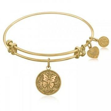 ac NOVQ2A Expandable Bangle in Yellow Tone Brass with Butterfly Transformation Symbol