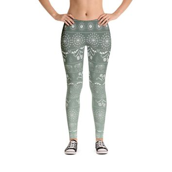 Elephant Mandala in Green Leggings