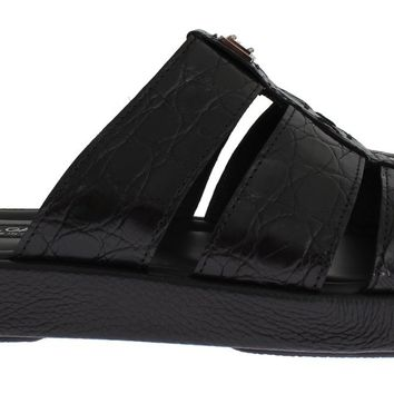 Black Caiman Crocodile Leather Sandal Shoes