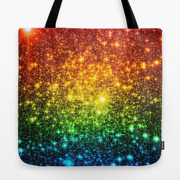 SALE Galaxy Tote Bag, Rainbow Galaxy Tote Bag, Astral Glitter, Rainbow Tote Bag, Canvas Tote, Large Tote, Market Tote, Book Bag, Colorful Ba