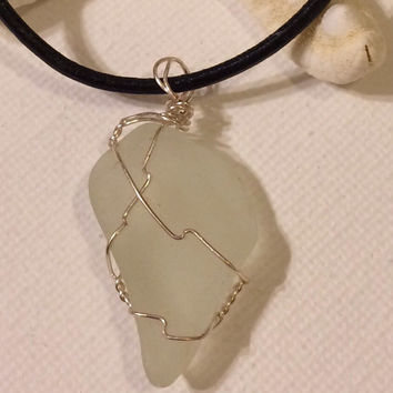 White Water Authentic Texas Sea Glass leather necklace wire wrapped, texas sea glass, sea glass jewelry, beach glass jewelry