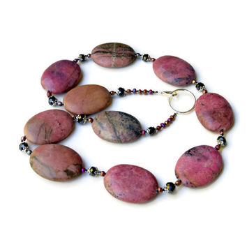 Long Chunky Mauve Semiprecious Statement Necklace/ Formal Colorful Pink Rhodonite Sparkling Swarovski Necklace/ Huge Natural Stone Beads