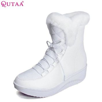 QUTAA 2017 White Ankle Boots Fur PU leather+Down Lace Up Wedge Low Heel Boots Women Snow Boots Wedding Snow Boots Size 35-40