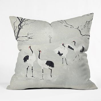 Belle13 Winter Love Dance Of Japanese Cranes Throw Pillow