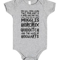 YOU WILL SOON LEARN YOUR AUNT IS A NERD HARRY POTTER | Baby One-Piece | SKREENED