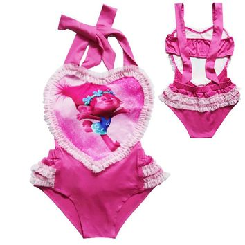 GI FPREVER Cute Character Kids Halter One Pieces Suit Swimwear 2018 Summer Beach Baby Girl Swimsuit Bathing Suit Maillot De Bai