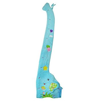 Child Growth Chart Height Measurement Ruler and Wall Décor for Nursery, Blue Elephant
