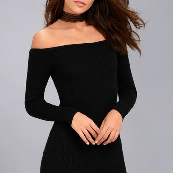 Obey Binx Black Off-the-Shoulder Bodycon Sweater Dress