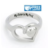 "Sister Gift - Heart Promise Sister Ring Engraved on Inside with ""My Sister is My Half"", Sizes 6 to 9"