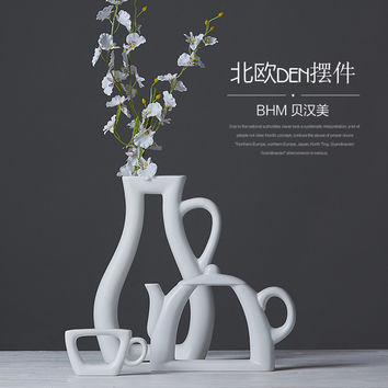 ceramic creative concise abstract flower vase pot home decor craft room decoration handicraft porcelain tea Coffee sets figurine