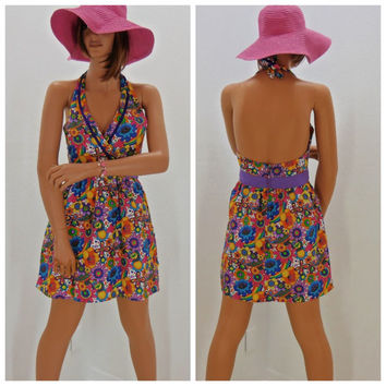 Vintage 60's mini dress, size S, hippie halter dress, 1960s retro floral dress, 60s groovy mod dress, sunny boho