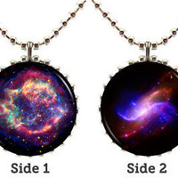 Galaxy Space Pendant Necklace - Design Pair A - Double Sided