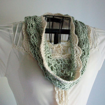 Knitting Pattern PDF Digital Download Vintage Style Knitted Lace Cowl Sage Green Cream Ivory White Circle Scarf