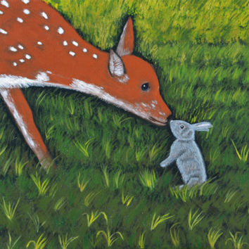Fawn Deer Painting, Rabbit Painting, Wildlife Painting, Baby Deer Painting, Nature Painting, Art Painting, Acrylic Painting