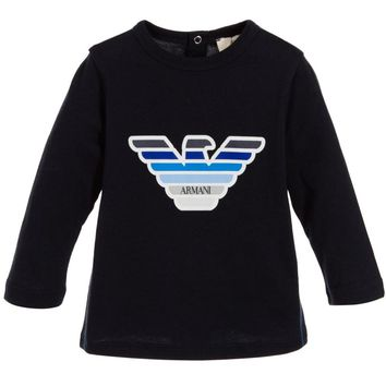 Armani Baby Boys Navy Blue Eagle Logo T-shirt