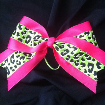Cheer bow neon lime green