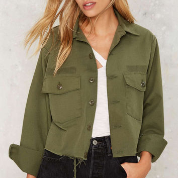 Army Green Raw Hem Military Crop Jacket LAVELIQ