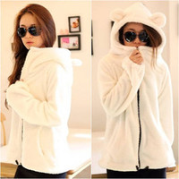 Women's Long Sleeve Solid Color White Zip Down Jacket Coats Sweater Hoodie #736