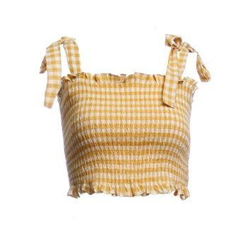Yellow Gingham Tie Strap Top