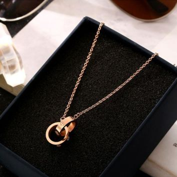 ONETOW CartierWšFashion new double ring pendant necklace female rose gold titanium steel short clavicle chain