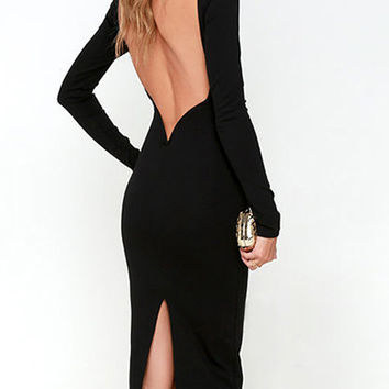 Black Backless Long Sleeve Split Bodycon Dress