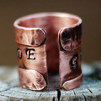 Adjustable Copper Fold Formed Ring, Anticlastic, Unisex, Personalized Writing Message Ring, Inspirational Metal Ring Cuff