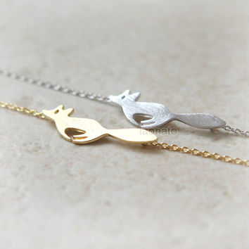 Forest Fox Necklace / Choose your color - gold and silver