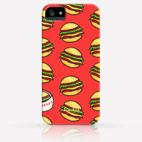 Cute Hamburger Pattern iPhone 4 Case, iPhone 4s Case, iPhone 5 Case, iPhone 5s Case, iPhone Hard Plastic Case