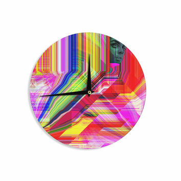 "Roberlan ""Mechancholya"" Red Yellow Abstract Pop Art Wall Clock"