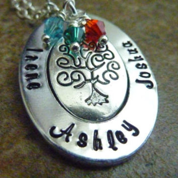 Personalized Mother's Necklace Hand stamped Family Tree of life necklace Mommy Grandma Necklace Personalized jewelry