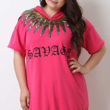 Savage Sequin Patch Hoodie Dress