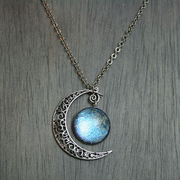 Reserved for Ophelia3 Aurora Moonlight Antique Silver Necklace