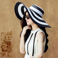 Women's Fashion sun-shade Straw Hat With Big Wide black stripes Sun Beach Cap = 1958001284