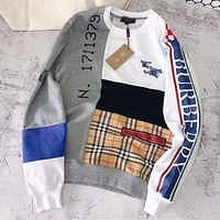 Burberry Popular Women Men Personality Print Color Matching Long Sleeve Pure Cotton Sweater Top Sweatshirt I13634-1
