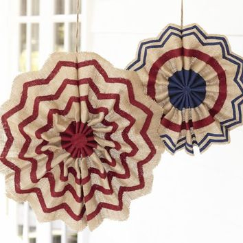 FOURTH OF JULY BURLAP STARS