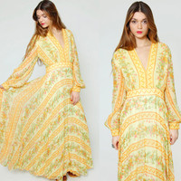 Vintage 70s Yellow FLORAL Maxi Dress Boho Chic EMPIRE Waist STRIPE Hippie Wedding Dress