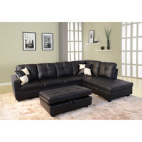 Delma 3-piece Faux Leather Right Chaise Sectional Set