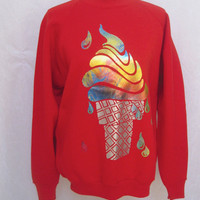 Sweatshirt with Ice Cream Cone Multicolor Foil Applique, Fruit of the Loom, Large
